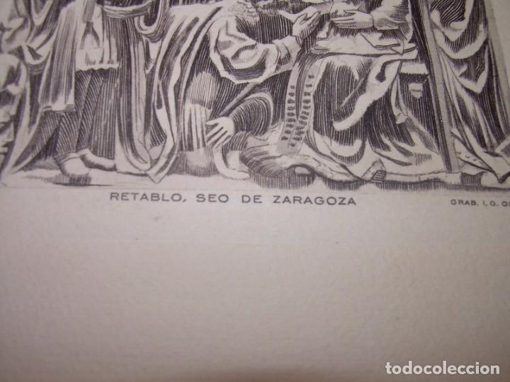 Arte: ANTIGUO GRABADO...P.JOHAN..... GRABADOR. O.G. OLIVA....RETABLO DE LA SEO DE ZARAGOZA. - Foto 7 - 150739594