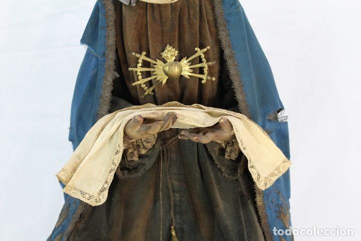 Arte: Virgen Dolores Dolorosa capipota gran medida años 1800 talla de madera 68 cm, articulada - Foto 3 - 150745434