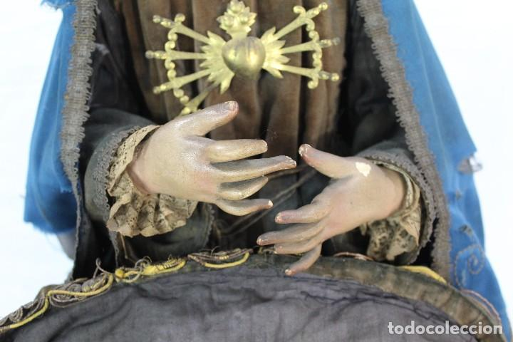 Arte: Virgen Dolores Dolorosa capipota gran medida años 1800 talla de madera 68 cm, articulada - Foto 8 - 150745434