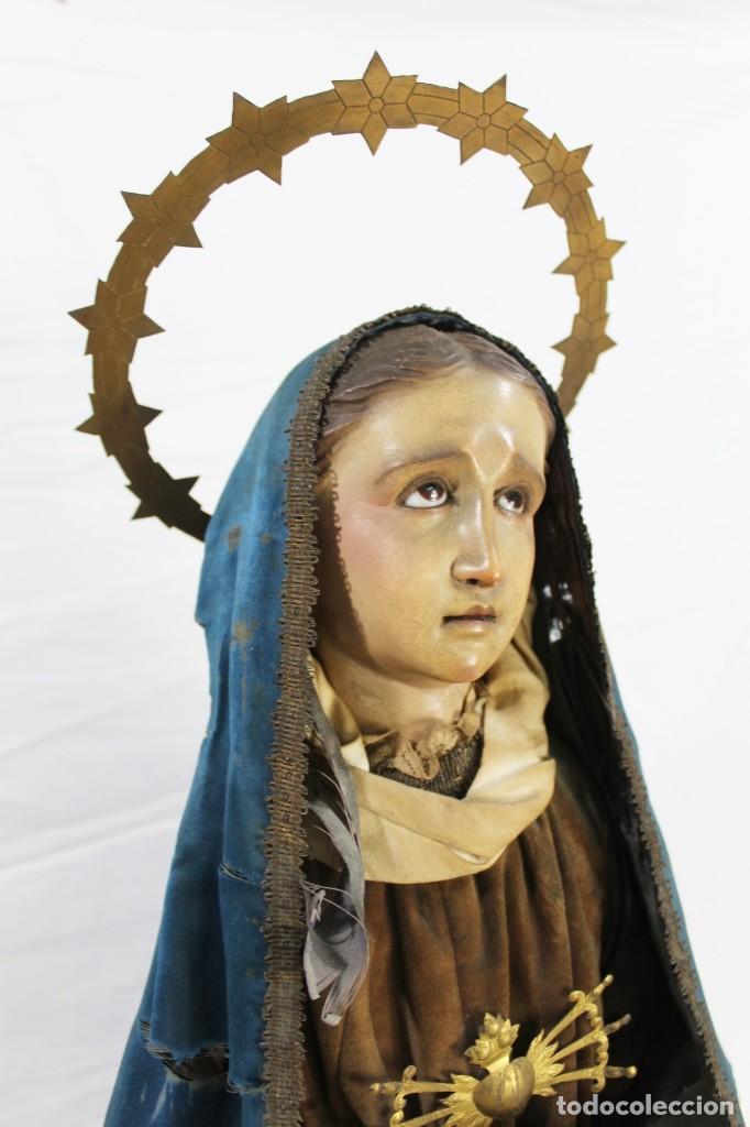 Arte: Virgen Dolores Dolorosa capipota gran medida años 1800 talla de madera 68 cm, articulada - Foto 17 - 150745434