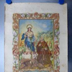 Arte: VIRGEN DE LOS LIRIOS, III CENTENARIO Y CORONACION - PATRONO DE ALCOY, ALICANTE, LITOGRAFIA T. JORDA. Lote 150770670