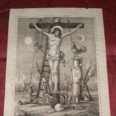 Arte: SIGLO XIX CRISTO DE LA BUENA MUERTE - RELIGION LITOGRAFIA LACAU DE BURGOS. Lote 150807530
