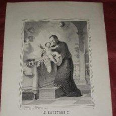 Arte: SIGLO XIX SAN CAYETANO F. - LITOGRAFIA DE A. PASCUAL Y ABAD DE VALENCIA . Lote 150809238