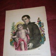 Arte: SIGLO XIX SAN ESTANISLAO DE KOSTKA - LITOGRAFIA COLOREADA - RELIGION POLONIA ROMA. Lote 150818490