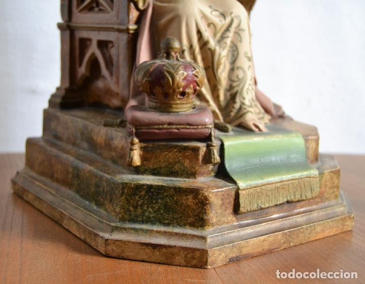 Arte: ANTIGUA IMAGEN CRISTO ENTRONIZADO * CORAZON DE JESUS * OJOS DE CRISTAL * 49 CM ALTO - Foto 3 - 150829062