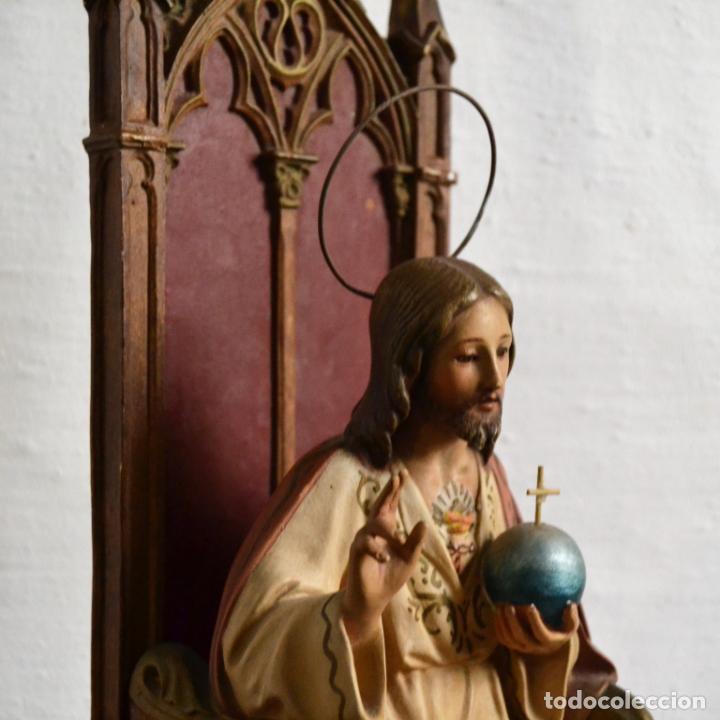Arte: ANTIGUA IMAGEN CRISTO ENTRONIZADO * CORAZON DE JESUS * OJOS DE CRISTAL * 49 CM ALTO - Foto 6 - 150829062