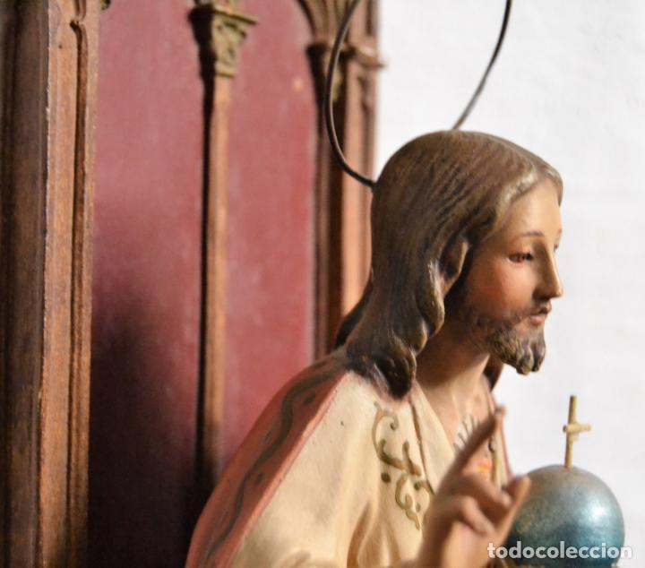Arte: ANTIGUA IMAGEN CRISTO ENTRONIZADO * CORAZON DE JESUS * OJOS DE CRISTAL * 49 CM ALTO - Foto 10 - 150829062
