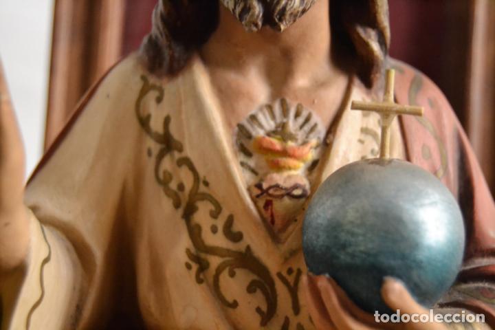 Arte: ANTIGUA IMAGEN CRISTO ENTRONIZADO * CORAZON DE JESUS * OJOS DE CRISTAL * 49 CM ALTO - Foto 11 - 150829062