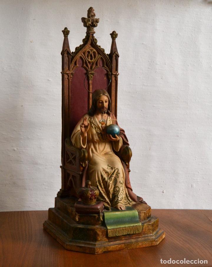 Arte: ANTIGUA IMAGEN CRISTO ENTRONIZADO * CORAZON DE JESUS * OJOS DE CRISTAL * 49 CM ALTO - Foto 13 - 150829062