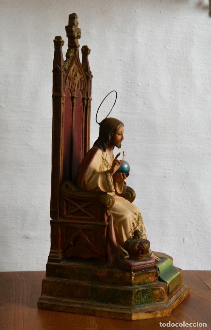 Arte: ANTIGUA IMAGEN CRISTO ENTRONIZADO * CORAZON DE JESUS * OJOS DE CRISTAL * 49 CM ALTO - Foto 14 - 150829062