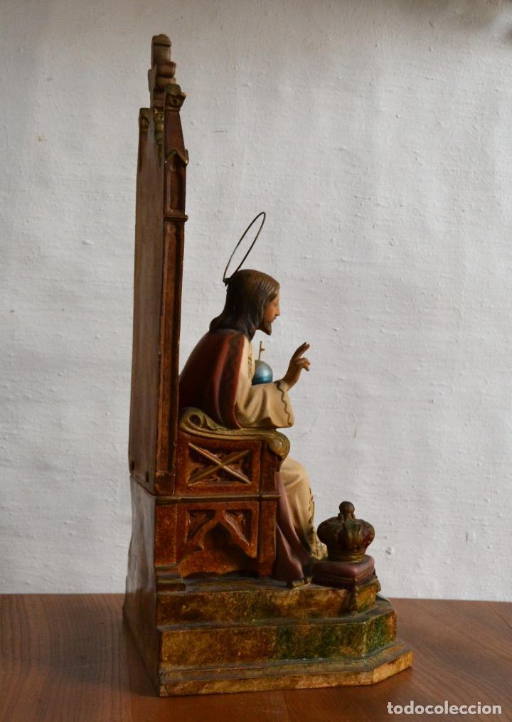Arte: ANTIGUA IMAGEN CRISTO ENTRONIZADO * CORAZON DE JESUS * OJOS DE CRISTAL * 49 CM ALTO - Foto 15 - 150829062