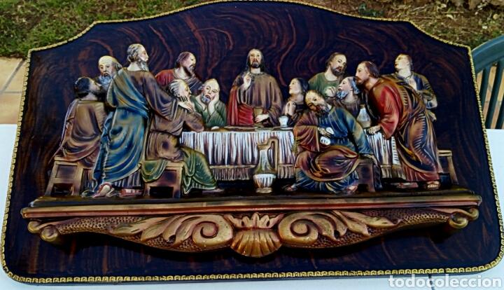 Arte: Retablo. Ultima cena de Cristo con sus apóstoles. Estuco policromado sobre madera noble. - Foto 2 - 150981970