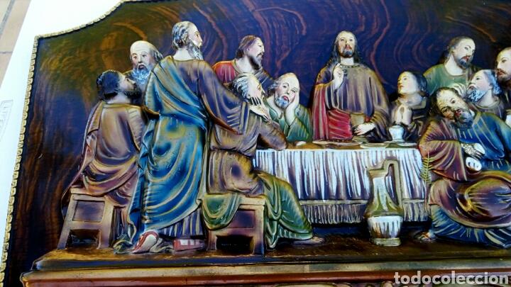 Arte: Retablo. Ultima cena de Cristo con sus apóstoles. Estuco policromado sobre madera noble. - Foto 3 - 150981970