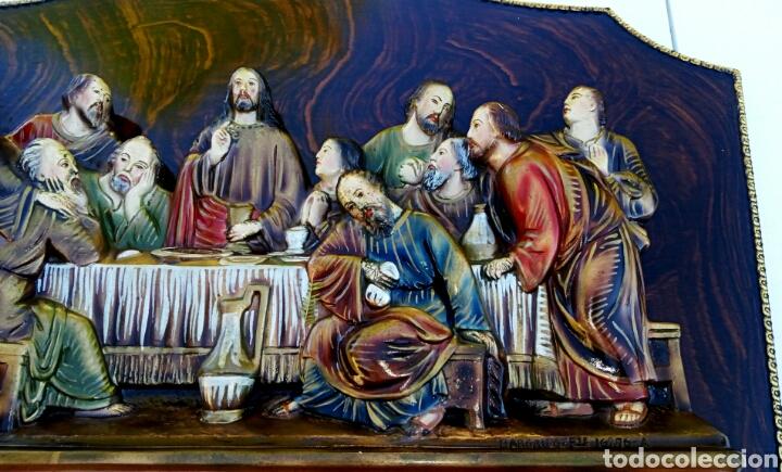 Arte: Retablo. Ultima cena de Cristo con sus apóstoles. Estuco policromado sobre madera noble. - Foto 4 - 150981970