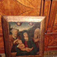 Arte: LÁMINA SOBRE MADERA RELIGIOSA, VIRGEN MARÍA, SAN JOSÉ Y NIÑO JESÚS, 29.5X26.5CM. Lote 151082798