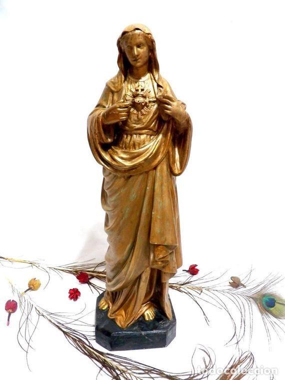 ESTATUA VIRGEN MARÍA CORAZÓN DE JESÚS 42 CM, ESCULTURA SAGRADO CORAZÓN DE MARÍA XIX, ESCAYOLA DORADA (Arte - Arte Religioso - Escultura)