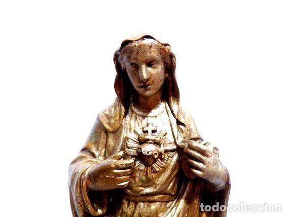 Arte: Estatua Virgen María Corazón de Jesús 42 cm, Escultura Sagrado Corazón de María XIX, Escayola Dorada - Foto 2 - 151225638