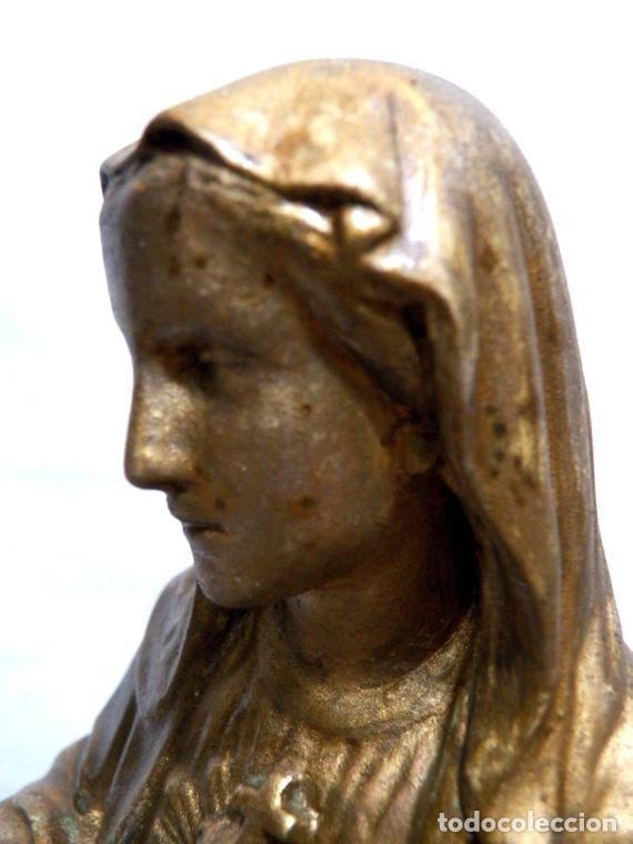 Arte: Estatua Virgen María Corazón de Jesús 42 cm, Escultura Sagrado Corazón de María XIX, Escayola Dorada - Foto 3 - 151225638