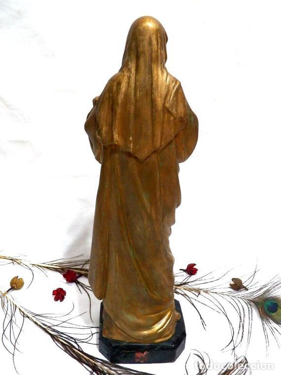 Arte: Estatua Virgen María Corazón de Jesús 42 cm, Escultura Sagrado Corazón de María XIX, Escayola Dorada - Foto 4 - 151225638
