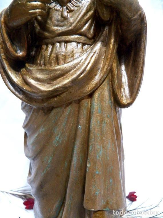 Arte: Estatua Virgen María Corazón de Jesús 42 cm, Escultura Sagrado Corazón de María XIX, Escayola Dorada - Foto 5 - 151225638