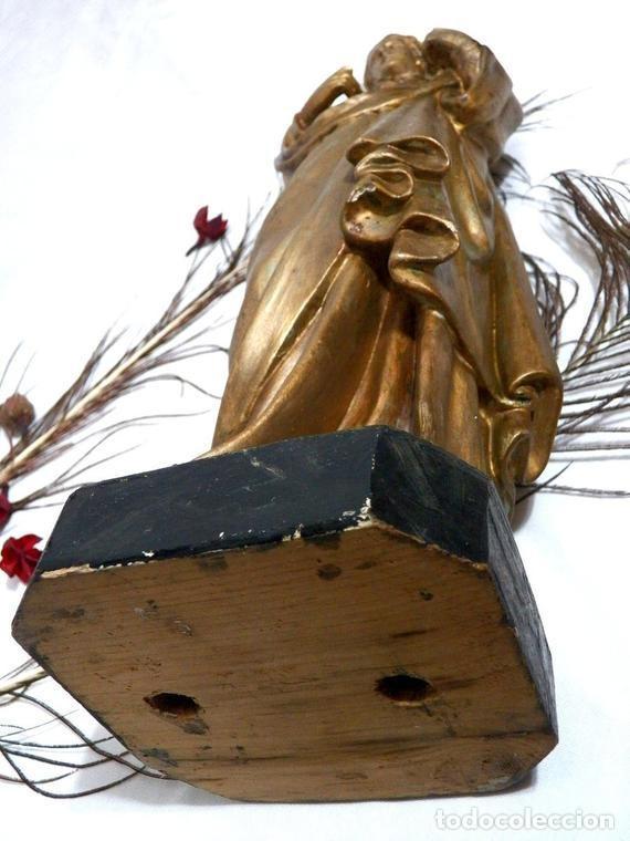Arte: Estatua Virgen María Corazón de Jesús 42 cm, Escultura Sagrado Corazón de María XIX, Escayola Dorada - Foto 8 - 151225638