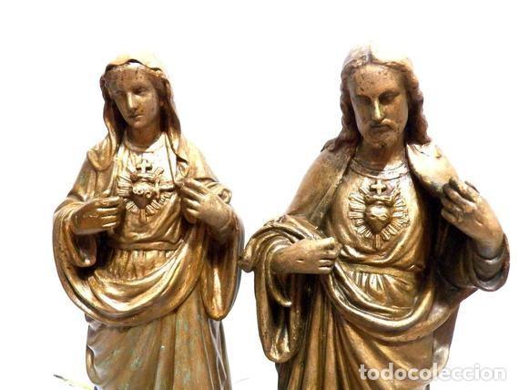 Arte: Estatua Virgen María Corazón de Jesús 42 cm, Escultura Sagrado Corazón de María XIX, Escayola Dorada - Foto 9 - 151225638
