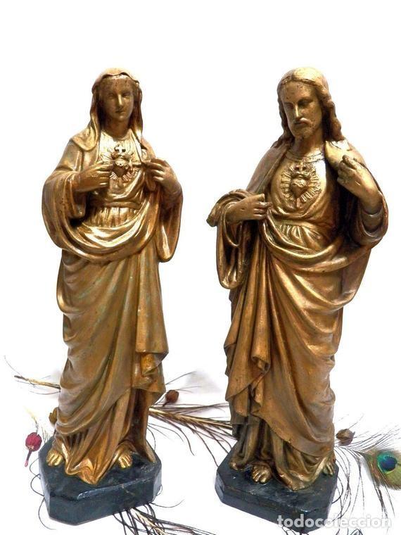 Arte: Estatua Virgen María Corazón de Jesús 42 cm, Escultura Sagrado Corazón de María XIX, Escayola Dorada - Foto 10 - 151225638