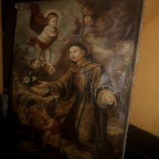 Arte: OLEO SOBRE LIENZO SAN ANTONIO PADUA NIÑO JESUS PIEZA UNICA . Lote 151276134