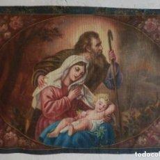 Arte: TAPIZ PINTADO A MANO, PIGMENTOS NATURALES SOBRE LINO, NACIMIENTO, SAGRADA FAMILIA, S XIX . Lote 151306958