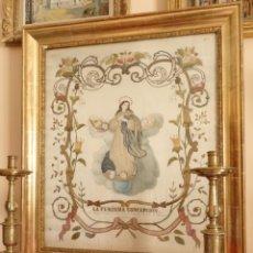 Arte: LA PURÍSIMA CONCEPCIÓN. IMAGEN DE LA VIRGEN EN BORDADOS DE ORO Y SEDAS. 79 X 69 CM. HACIA 1900.. Lote 151325166
