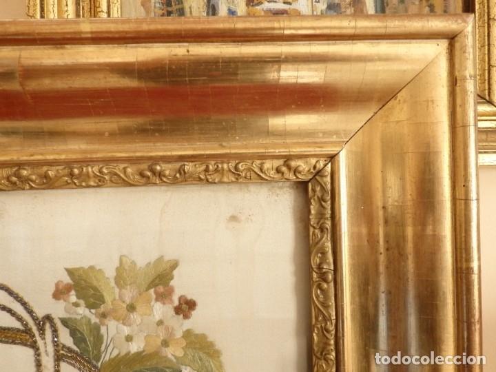 Arte: La Purísima Concepción. Imagen de la Virgen en bordados de oro y sedas. 79 x 69 cm. Hacia 1900. - Foto 3 - 151325166