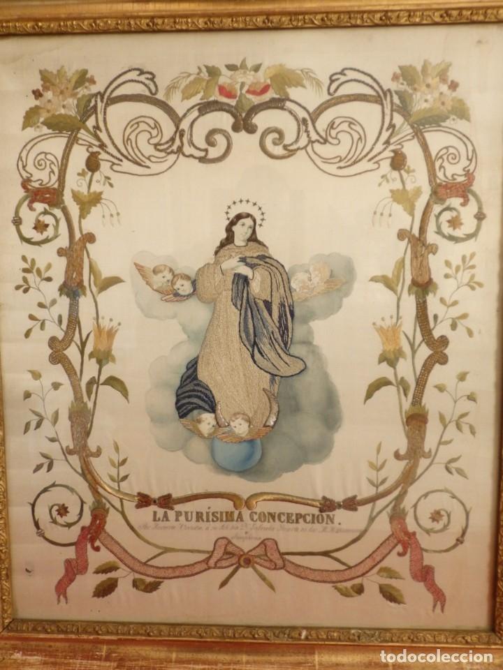 Arte: La Purísima Concepción. Imagen de la Virgen en bordados de oro y sedas. 79 x 69 cm. Hacia 1900. - Foto 6 - 151325166