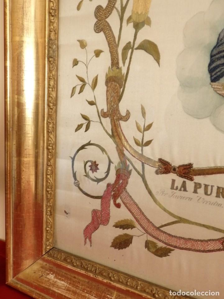 Arte: La Purísima Concepción. Imagen de la Virgen en bordados de oro y sedas. 79 x 69 cm. Hacia 1900. - Foto 5 - 151325166