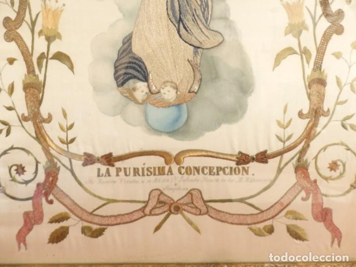 Arte: La Purísima Concepción. Imagen de la Virgen en bordados de oro y sedas. 79 x 69 cm. Hacia 1900. - Foto 12 - 151325166