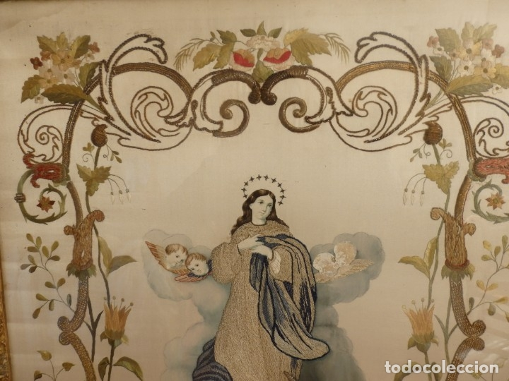Arte: La Purísima Concepción. Imagen de la Virgen en bordados de oro y sedas. 79 x 69 cm. Hacia 1900. - Foto 11 - 151325166