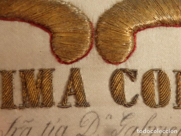 Arte: La Purísima Concepción. Imagen de la Virgen en bordados de oro y sedas. 79 x 69 cm. Hacia 1900. - Foto 17 - 151325166