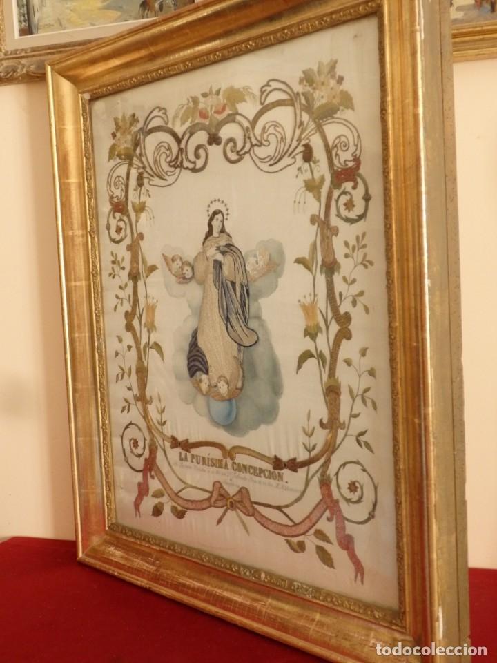 Arte: La Purísima Concepción. Imagen de la Virgen en bordados de oro y sedas. 79 x 69 cm. Hacia 1900. - Foto 18 - 151325166