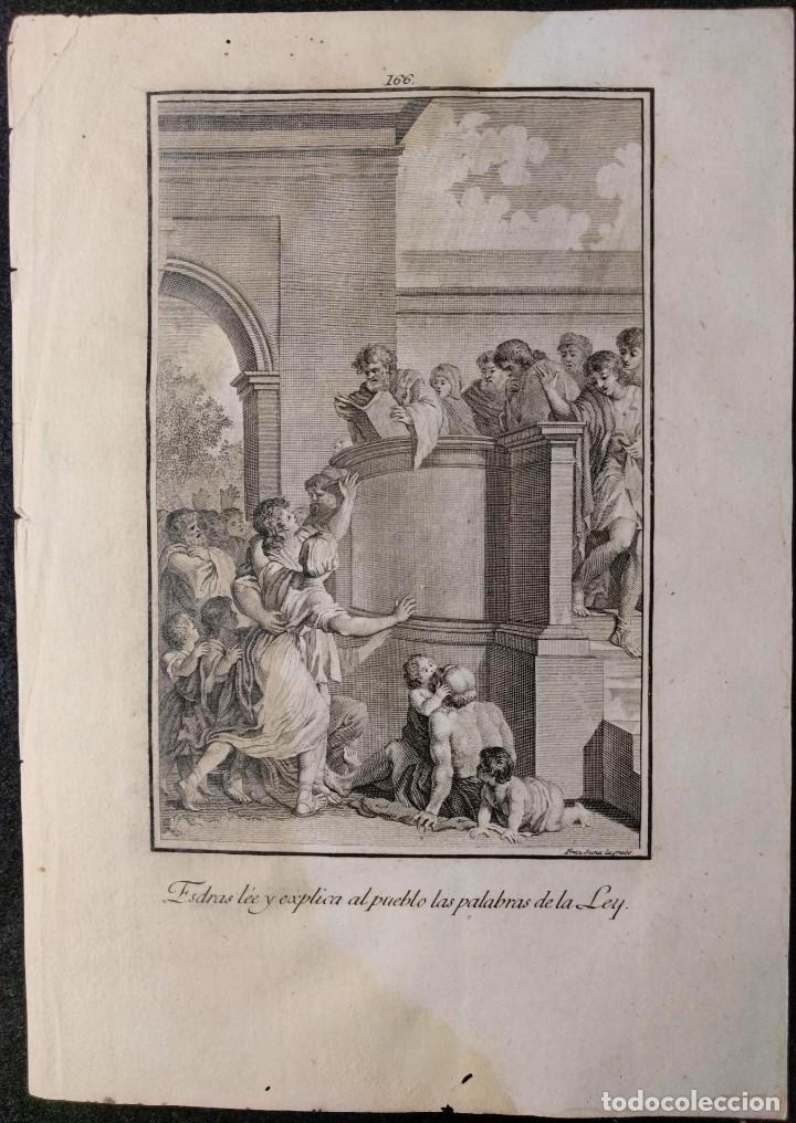 Arte: Esdras explica la Ley. Francisco Suriá. H. 1790-1794. Biblia. Grabado. Neoclasicismo. Carlos IV. - Foto 2 - 151336514