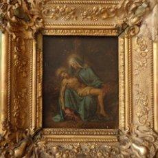 Arte: LA PIEDAD. ÓLEO SOBRE COBRE. ESCUELA ESPAÑOLA DEL SIGLO XVIII. 15 X 12 CM.. Lote 151452382
