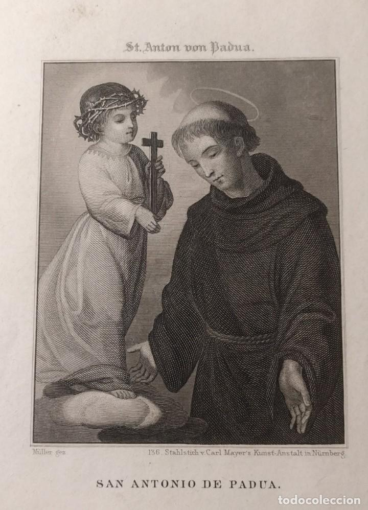 GRABADO AL ACERO DE SAN ANTONIO DE PADUA. H. 1850. ST. ANTON VON PADUA. MÜLLER. NÜRNBERG. (Arte - Arte Religioso - Grabados)