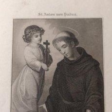 Arte: GRABADO AL ACERO DE SAN ANTONIO DE PADUA. H. 1850. ST. ANTON VON PADUA. MÜLLER. NÜRNBERG. . Lote 151461834