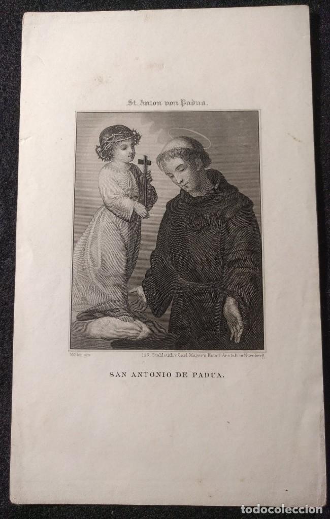 Arte: Grabado al acero de San Antonio de Padua. H. 1850. St. Anton von Padua. Müller. Nürnberg. - Foto 2 - 151461834