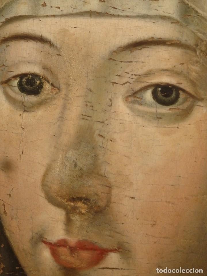 Arte: Óleo sobre tabla. Busto de la Virgen María. 34 x 28 cm. Escuela flamenca. Siglos XV-XVI. - Foto 11 - 48221032