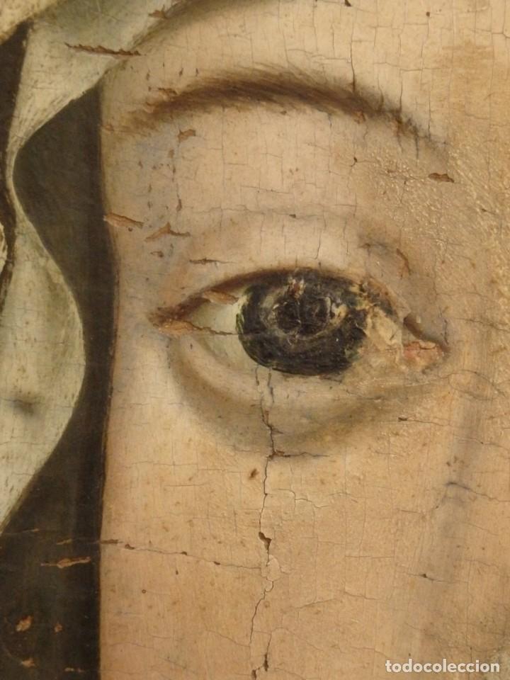 Arte: Óleo sobre tabla. Busto de la Virgen María. 34 x 28 cm. Escuela flamenca. Siglos XV-XVI. - Foto 13 - 48221032