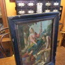 Arte: LÁMINA CARPINTERÍA DE SAN JOSÉ CON LA VIRGEN MARÍA Y JESÚS TRABAJANDO - MARCO DE MADERA. Lote 151586912