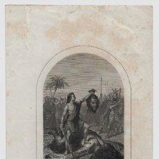 Arte: DAVID Y GOLIAT , GRABADOR A. ROCA 28X 17CM. LA HOJA ENTERA. Lote 151609478