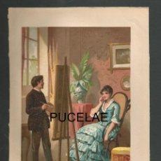 Arte: ANTIGUA LITOGRFIA DE A. FORUNY - MADRID - MEDIDAS 21,30 POR 14,30 - RESTOS DE HUMEDAD EN HOJA. Lote 151669318