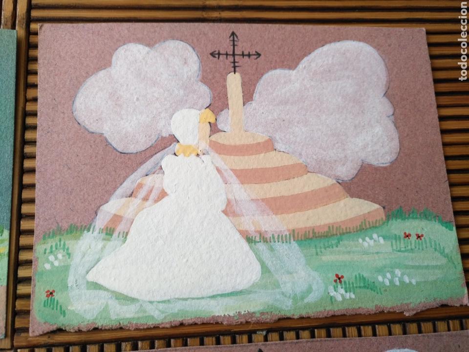 Arte: Arte. 4 Postal pintada a mano. 15cm x 11cm - Foto 3 - 151705178