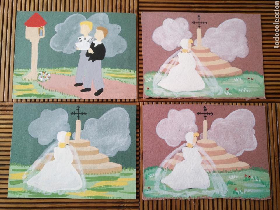 ARTE. 4 POSTAL PINTADA A MANO. 15CM X 11CM (Arte - Arte Religioso - Pintura Religiosa - Otros)