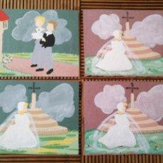 Arte: ARTE. 4 POSTAL PINTADA A MANO. 15CM X 11CM. Lote 151705178